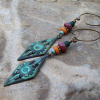 Patina Floral Drop Earrings with Mauve Fancy Jasper and Orange dyed Bone Bead