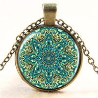 Vintage henna yoga pendant necklaces handmade India jewelry bloom mandala lotus necklace om