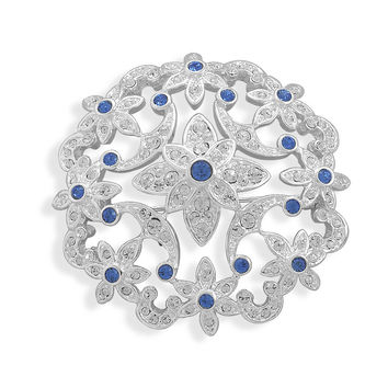 Bridal Pin Silver Plated Multicolor Crystal