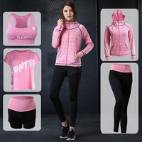 5 Piece Set Girl's Sports Suits Yoga Set Women Sports Suit Women Hooded Jacket and Bra and Pants Workout Sportswear Tracksuit