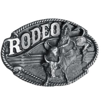 Sports Accessories - Rodeo Bull Rider Antiqued Belt Buckle