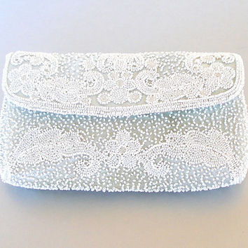 1920s Beaded Clutch French Womens Handbag by Coblentz Pastel Blue-Grey White Beads