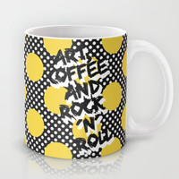 Art, coffee and rock 'n' roll Mug by Elisabeth Fredriksson