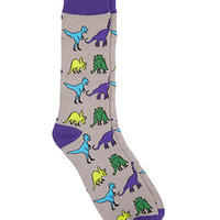Dinosaur Print Crew Socks Grey/Purple One