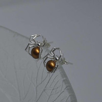 Sterling Silver Spider Earrings,  Stud Earrings Silver,  Sterling Silver,  Swarovski Crystals,  Spider Earrings, Animal Earrings