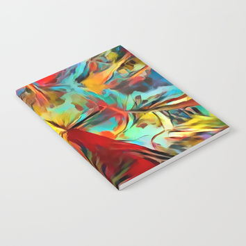 Red forest, colorful sky view, abstract warm artwork, red and yellow colors, nature themed pattern Notebook by Casemiro Arts - Peter Reiss