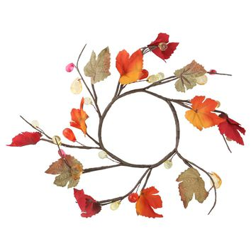 "6.5"" Fall Foliage Grape Leaves Twigs and Beads Autumn Wreath - Unlit"