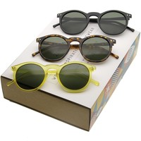 Retro Dapper P3 Round Horned Rim Sunglasses A988 [Promo Box]