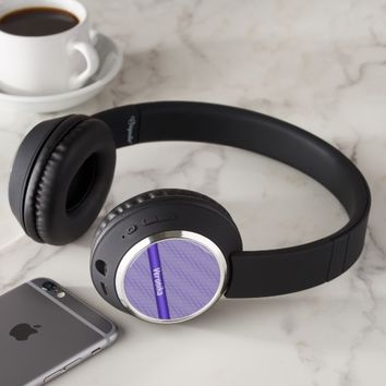 Violet small plaid pattern. Add name. Headphones
