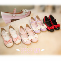 4 Colors Lolita Bow Round Toe Low Heels Shoes Free Ship SP141459 from SpreePicky