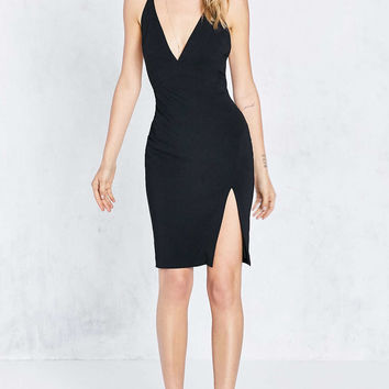ASTR Evelyn Deep-V Side-Slit Bodycon Mini Dress - Urban Outfitters