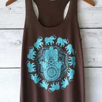Hamsa Elephant Tank Top in Charcoal