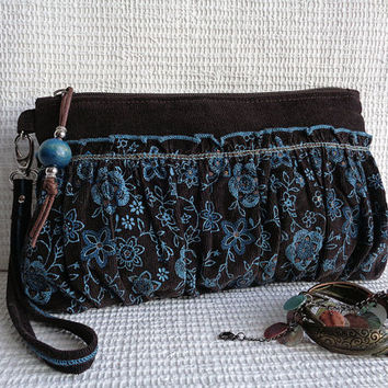 Wristlet clutch make up cosmetic zipper bag pouch case Gypsy Bohemian Hippie Boho