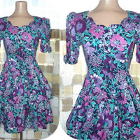 Vintage 80s Tiered Ruffle Sweep Sweetheart MINI Dress 5- 6 Victorian Garden Party Floral