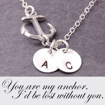 Message Card Jewelry, anchor necklace, initial necklace, personalized, bridesmaid necklace, friendship, sister, navy wife, N14