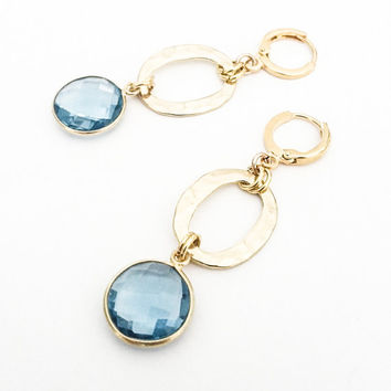Blue Quartz Faceted Drop Dangles Gold Textured Links Leverback Earrings Free USA Shipping