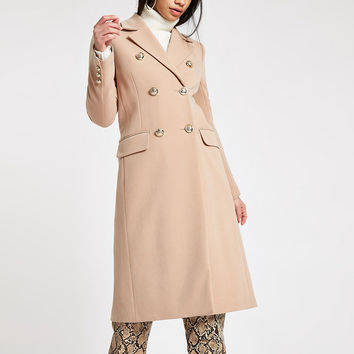 Light brown double breasted longline coat - Coats - Coats & Jackets - women