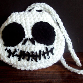 Crocheted Jack Skellington Nightmare Before Christmas Inspired Pouch - Dice Bag - Coin Purse