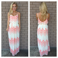 Cream & Coral Chevron Maxi Dress