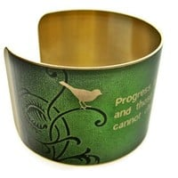 "George Bernard Shaw Brass Cuff Bracelet: ""Progress is impossible without change..."""
