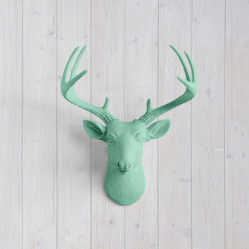 The MINI Virginia Mint Green Faux Taxidermy Resin Deer Head Wall Mount | Mint Green Stag w/ Colored Antlers