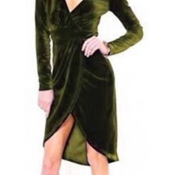 Sexy Dark Olive Green Plunging V Neck High Low Velvet Long Sleeve Wrap Dress
