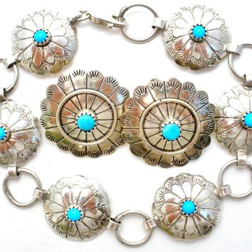 Navajo Sterling Silver Turquoise Concho Bracelet & Earrings