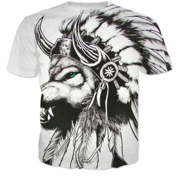 Native American Wolf T Shirt