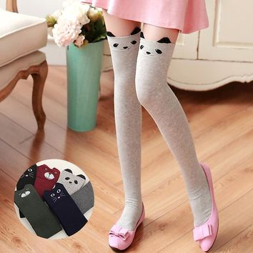 Winter Fashion Women 3D Cartoon Animal Pattern Over Knee Socks Sexy Warm Thigh High Long Knit Stockings For Girls #93693