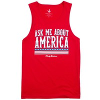 Ask Me About America Tank Top in Red by Rowdy Gentleman - FINAL SALE