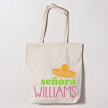 Personalized Mrs Fiesta Canvas Tote Bag