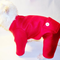 Dog Pajamas Red Fleece Trapdoor Longjohns Pajamas Dog Pjs