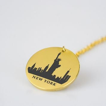 New York Skyline Stainless Steel Necklace