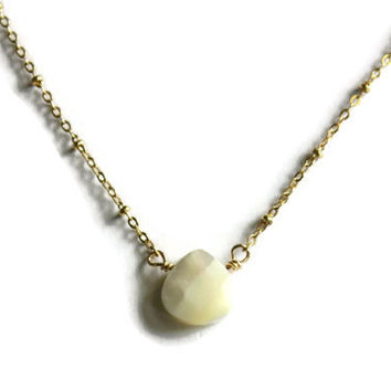 Mother of Pearl faceted heart briolette gemstone on a 14k gold fill chain, simple gold necklace