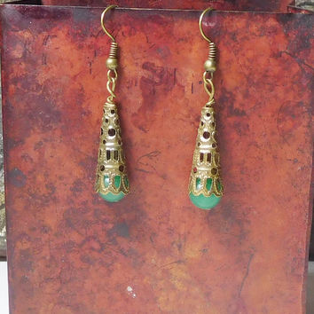 Bohemian Victorian Style Beaded Earrings Inspired Steampunk Jewelry Green Jade Beads Rustic Antiqued Brass Medieval Jewelry SCA Garb Borgias