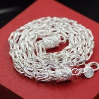 925 Sterling Silver Necklace Dragon Head Men Jewelry 5mm 100% S925 Solid Silver Chain Necklaces Male Jewelry Making 20inch