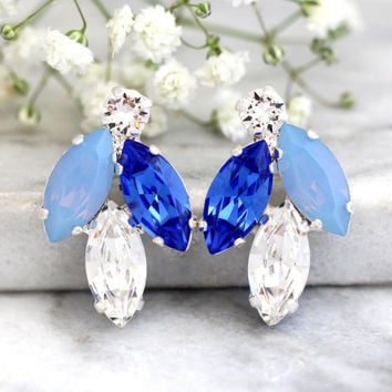 Blue Bridal Earrings, Blue Silk Earrings, Bridesmaids Blue Earrings, Bridal, Royal Blue Earrings,Sapphire Blue Earrings, Baby Blue Earrings