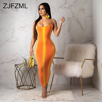 Gradient Striped Sexy Bodycon Dress Women Neon Orange Spaghetti Strap Backless Party Dress Summer O Neck Sleeveless Beach Dress