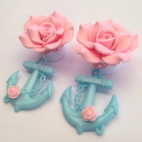 Large Rose with Blue Anchor Ear Plugs