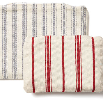 French Laundry Home, Cosmetic Bags, Red/Blue Stripe, Set of 2, Toiletry Bags