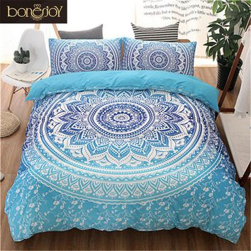 Blue Black Purple Color Bedding Kit for Adult Bedroom Full Queen King Size Bed Set Bohemian Bed Covers Boho Duvet Cover Bedding