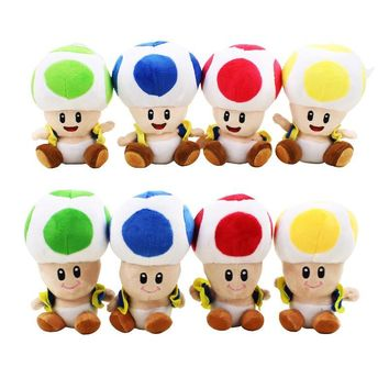 Super Mario party nes switch 16cm 4 colors  Mushroom Plush pedant Cartoon Doll Toy close or open mouth cute soft stuffed doll for kids AT_80_8