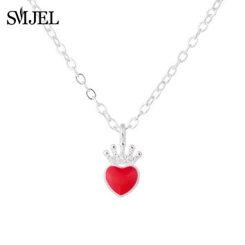 SMJEL  Fashion Silver Evie Necklace Descendants Red Heart Crown Necklace Queen of Hearts Costume Fan Jewelry Teen Girl Gifts