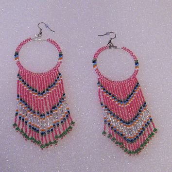 Silver Beaded Hoop Earrings With Native Style Beaded Long Fringe In Pink Seed Beads