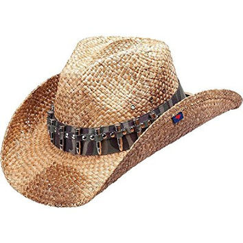 Peter Grimm Ltd Men's Rex Camo Bullet Band Straw Cowboy Hat Brown One Size