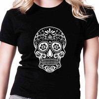 Skull Racer Back TV Womens T Shirts Black And White