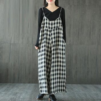 ZANZEA Women Oversized Check Plaid Dungaree Jumpsuits Overalls Vintage Female Strappy Casual Loose Harem Pants Long Trousers