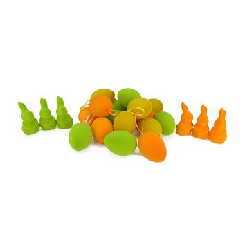 Set of 24 Orange Green and Yellow Spring Easter Egg Ornaments & Bunny Figures 2.5""