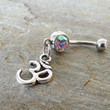 Ohm Om Belly Button Ring Crystal Barbell Piercing by MidnightsMojo
