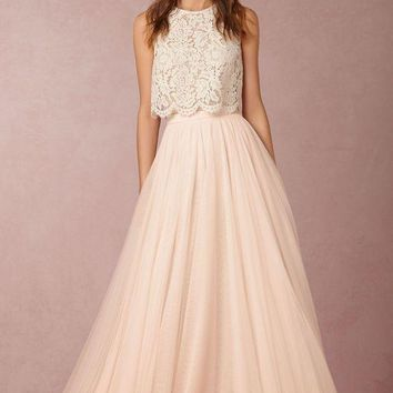 Cheap Vintage Lace Two Piece Bridesmaid Dresses 2017 Simple Blush Pink Grey Mint Green Tulle Long We